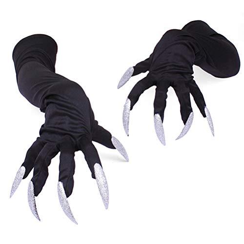 guanti con unghie Urisgo Halloween Guanti con Unghie Guanti Artigli 1 Paia per Adulti Halloween Costume Danza Festa