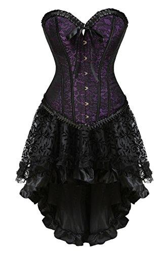 Grebrafan Damen Partykleid Korsett Vollbrust Corsage mit Spitze Asymmetrisch Hoch Niedriger Rock (EUR(36-38) L, Violett)