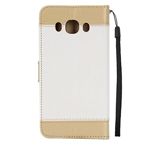 EKINHUI Case Cover Dual Color Matching Premium PU Leder Flip Stand Case Cover mit Card Cash Slots und Lanyard für Samsung Galaxy J510 ( Color : Gold ) White