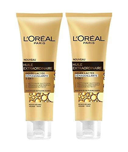 L'Oréal Paris Huile Extraordinaire Gelée Démaquillante visage & yeux Peaux Sèches 150 ml Lot de 2