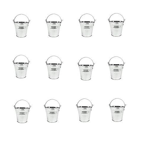 Labellevie 12 Pcs Mini Metal Buckets for Planters or Candies