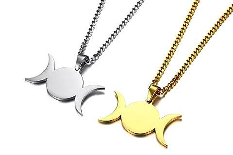 Vnox 2 pièces en acier inoxydable 3 en 1 déesse triple Moon Paganism Wiccan pendentif collier pour hommes femmes,chaîne cubaine