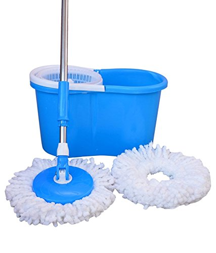 John Richard 360° Spin Floor Cleaning Easy Bucket PVC Mop with 2 Microfiber Heads(Random Color)  available at amazon for Rs.520