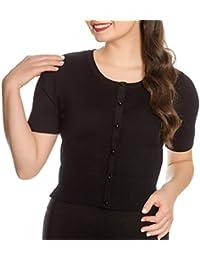 Hell Bunny Ladies 50s Wendi Plain Short Sleeved Cardigan Top Black All Sizes