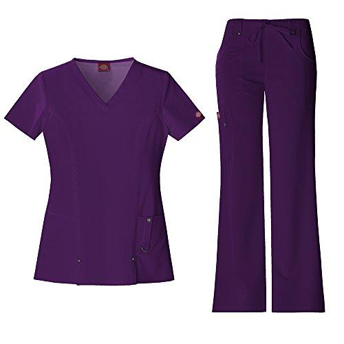 Xtreme Stretch Damen 82851 V-Neck Top & 82011 Kordelzug Medical Uniform Scrub Set (Aubergine - Klein) (Medical Uniform-top)