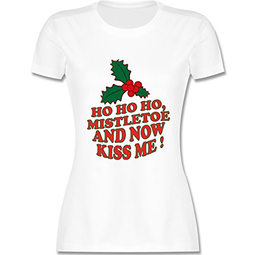Weihnachten & Silvester - Ho Ho Ho, Mistletoe and now kiss me - Ho Ho Ho, Mistelzweig - küss mich endlich - tailliertes Premium T-Shirt mit Rundhalsausschnitt für Damen Weiß