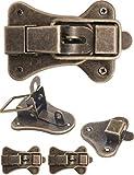 Fuxxer Lot de 2 fermoirs pour coffre, caisse, boîtes, coffret, cadenas à cadenas vintage en laiton 95 x 52 mm