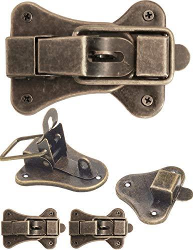 FUXXER – 2 x chiusure per casse, scatole, valigie per serratura per tende, design vintage, in ottone, set da 2 con viti, 95 mm x 52 mm