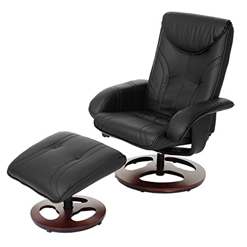 Mendler Relaxsessel HWC-C46, Fernsehsessel Sessel mit Hocker, Kunstleder ~ schwarz