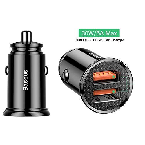 Baseus Auto Ladekabel Kfz ladegerät Adapter 5A 30W Dual QC3.0 USB Port für Samsung S10/ S10+/ S9 / S8 / S8+, Huawei Mate20 Pro, P30/ P30 Pro/ P30 Lite/iPhone XS Max/X/Xs/ 8/7/ 6, HTC/Sony Schwarz (Dual-port-blitz-auto-ladegerät)