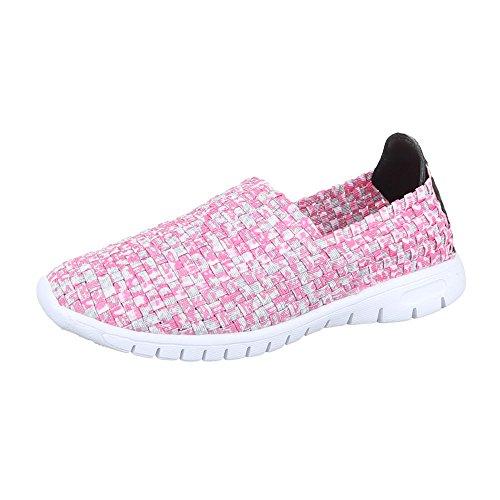 Slipper Damen Schuhe Low-Top Leichte Ital-Design Halbschuhe Rosa Multi DSC002-13