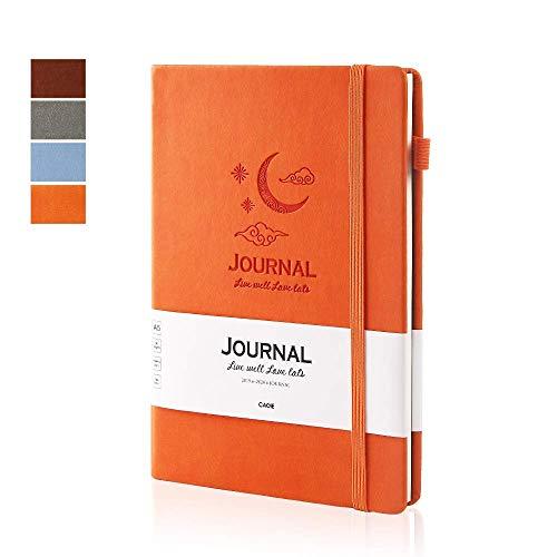 Agenda giornaliera 2019-2020 (giugno 2019 - giugno 2020), agenda settimanale e mensile, 13 mesi, settimanale, copertina rigida, in pelle, 14,7 x 21,1 cm a5 orange