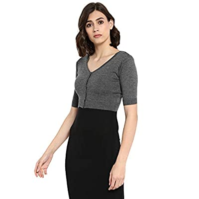 Monte Carlo Medium Grey Solid Pure Wool Front Open Blouse