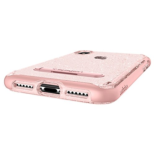 Cover iPhone X, Spigen [Crystal Hybrid Glitter] Custodia iPhone X con custodia interna flessibile e telaio rigido rinforzato per Apple iPhone X (2017) - Gold Quartz - 057CS22149 Rose Quartz