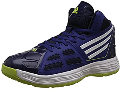 adidas Men's Bully Blue, Dark Blue, White and Yellow Sport Basketball Shoes - 12 UK