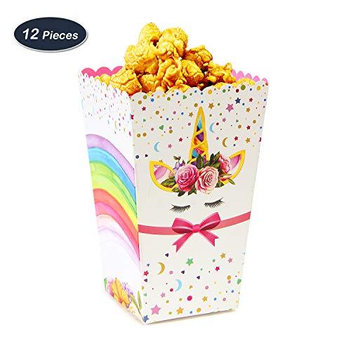 WERNNSAI Regenbogen Einhorn Partyzubehör Gefälligkeiten Süßigkeiten Popcorn Boxen Behälter Papier Snack Tüten zum Geburtstag Baby Shower Party 12 StückDIY Montage(Regenbogen) (Süßigkeiten Für Gefälligkeiten)