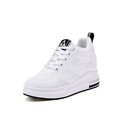 Lily999 scarpe con zeppa interna donna scarpe da ginnastica basse sportive fitness sneakers zeppa interna 8cm(bianco,36 eu)