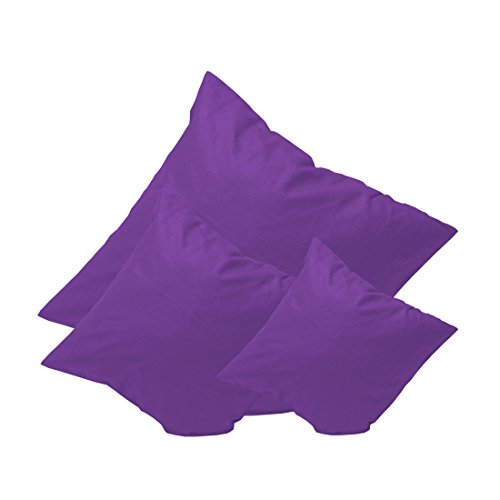 Qool24 KATR Baumwolle Kissen mit Reißverschluss Dekokissen Sofakissen Schlafkissen Kopfkissen Couchkissen Rückenkissen 18 Farben und 8 Größen Lila 40x40 cm