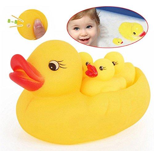 4pcs Juguetes Juegos Infantiles Pato Flotante Baño de Goma Suave Hacer Sonido para Bebé Niños, Amarillo