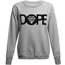Sudadera polar, diseño con texto Dope y diamante (S/M), gris claro