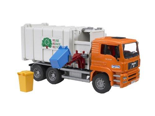 Bruder-2761-Camin-volquete-Man-en-miniatura-con-2-contenedores-color-naranja
