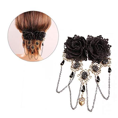 Frauen-Weinlese Gothic Black Blumen-Stirnband-Haar-Klipp Mit Quasten Reizvolle Hohle Spitze-Haar Acessories