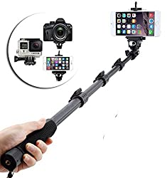 Erry Extendable handheld YT-1288 Selfie Sticks Monopod + Phone Holder Clip + Bluetooth Remote Shutter Controller Self-Timer for iPhone iPad Samsung HTC iOS Andriod Cellphone Smartphones
