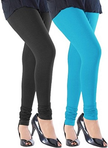M.G.R.J Women\'s Cotton Lycra Churidar Leggings Combo (Pack of 2 Black, Sky-Blue) - Free Size