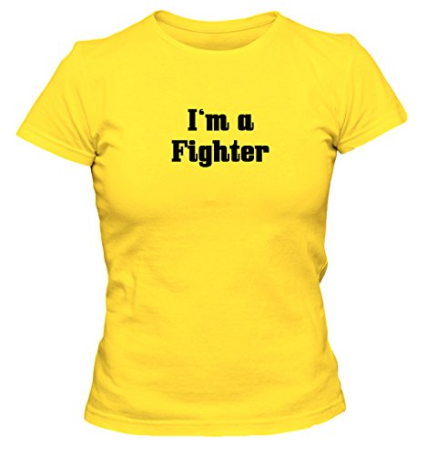 I'm a Fighter Fun Damen Damen T-Shirt Streetfighter UFC Shirt, Größe:XL;Farbe:gelb (Fighter T-shirt Gelbes)