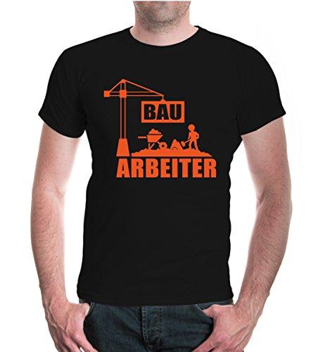 buXsbaum® T-Shirt Bauarbeiter Black-Orange