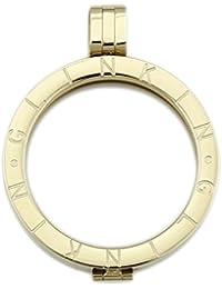 glinkin 35mm bañados en oro 18K acero inoxidable Coin Marco de discos para moneda collar con colgante