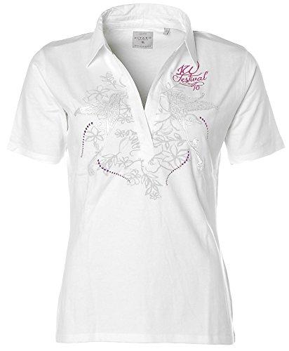 Kitaro Damen Kurzarm Shirt Poloshirt Ziernieten Isle Festival Weiß