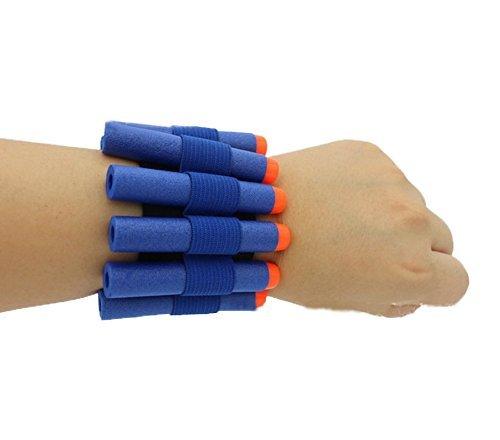 HONGCI 50 pcs Bleu 7.2 cm Fléchettes Bullets + Bullet de stockage de courroie de poignet pour enfants Pistolet Nerf N-Strike Elite Blasters