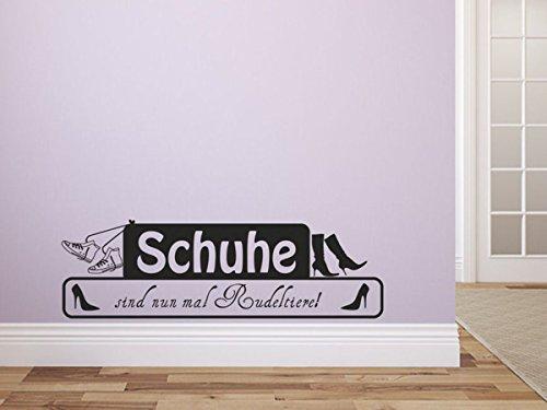 Wandtattoo-bilder® Wandtattoo Schuhe sind nun mal Rudeltiere Nr 2 Flur Wohnzimmer Wanddekoration Dekoideen Wandsprüche Größe 80x24, Farbe Schwarz