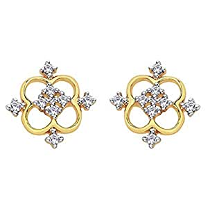 D'damas 18k Yellow Gold Diamond Stud Earrings