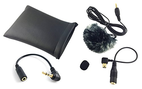 Professionelles Lavalier-Mikrofon KOMPLETT-SET inkl. Mini Fell Windschutz TRRS Kabel + TRS Adapter - Kompatibel mit Gopro 3/3+/4 + Smartphone (iPhone & Android) + Tablet + DSLR Kamera + Camcorder Ansteckmikrofon von Mind-Care-Essentials