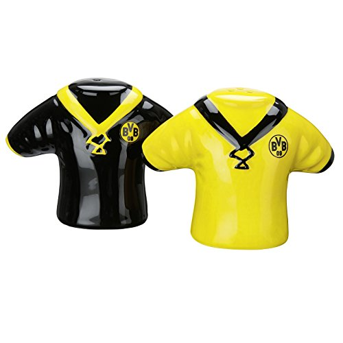 Borussia Dortmund BVB Salz-/Pfefferstreuer Set Trikot, Keramik, Schwarz/gelb, 3 x 5 x 5 cm, 2 Einheiten