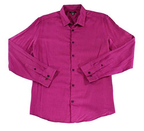 Alfani Mens Dress Shirt Medium Button Front Twill Woven Pink M (Mens Alfani Dress)