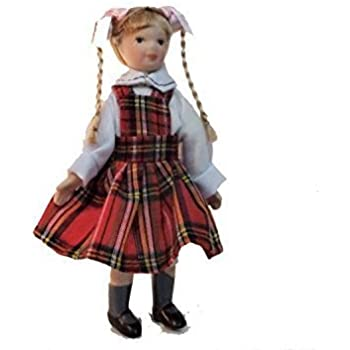 d4fd2b5af70e8 Melody Jane Maison de poupées Girl in tartan pinaforce miniature porcelaine  1 12 personnages