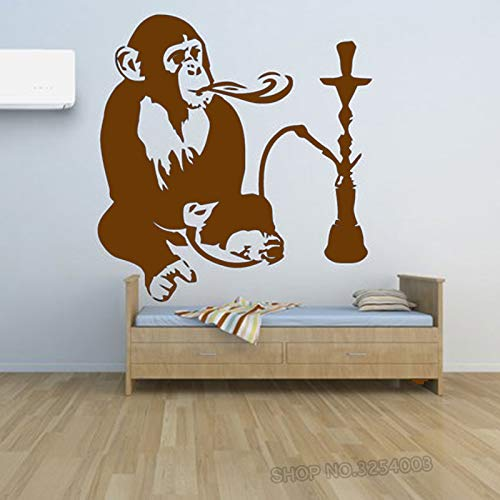 ShiSha Hookah Tatuajes de pared Ventana de humo Tienda Decoración Mono con cachimba Relájese Calcomanías...