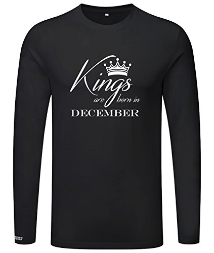 Kings are born in December - Geburtstag - Herren Langarmshirt Schwarz
