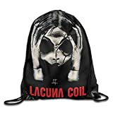 NasNew Drawstring Backpack Sack Bag Lacuna Coil Head Girl Gothic Metal Band Home Travel Sport Storage Hiking Running Bags