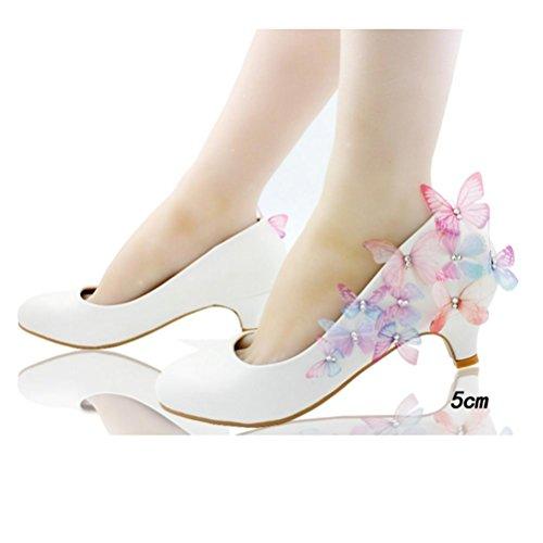 QPYC Donna ha puntato gli alti talloni scarpe da farfalla Foto Bianco Sfilate di Nozze Sexy Sequins d'argento Scarpe da donna Large Size 5cm