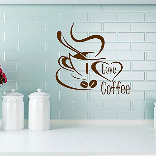yiyiyaya 3D Kaffee Vinyl Wandaufkleber Kunst Aufkleber Coffee Shop Fenster Glasmalereien Für Home Küche Dekoration Zubehör Wandaufkleber lila L 43 cm X 41 cm