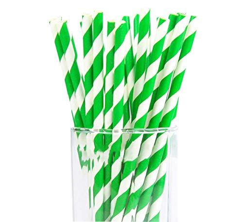 Hacoly Grüne Dicke Streifen Papier Trinkhalme Party Stroh Umweltfreundliches Stroh Festlich Verkleiden StrohStrohhalme Stroh Trinken Einweg Strohhalme für Saft, Milch usw 25 Stück - Grüne Dicke Streifen