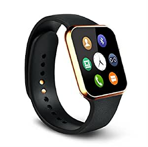 Jiyanshi Karbonn Platinum P9 Compatible Certified Bluetooth Smart Watch GT08 Wrist Watch Phone with Camera & SIM Card Support New Arrival Best Selling Premium Quality with Apps like Facebook / Whatsapp / QQ / WeChat / Twitter / Time Schedule / Read Message or News / Sports / Health / Pedometer / Sedentary Remind & Sleep Monitoring / Better Display / Loud Speaker / Microphone / Touch Screen / Multi-Language / Compatible with Android iOS Mobile Tablet PC-golden
