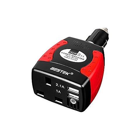 BESTEK 150W Power Inverter Car Charger DC 12V to AC 230V 240V Transformer Converter Adapter with UK Outlet Socket and Dual USB Ports for Phone Tablet