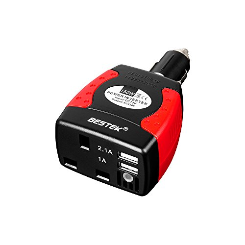 BESTEK US BEST-SELLING(AMAZON) POWER INVERTER- 150W Watt DC 12V To AC 230V Car Power Inverter Power Adapter Auto Voltage Converter Vehicle battery Car laptop charger Auto Netbook PC power USB charger Mobile Phone charger Iphone/Ipod/HTC/Samsung charger DVD Player Power Satnav Power PSP Travel Power Supply MRI1513U (UK PLUG) Dvd To Ipod Psp