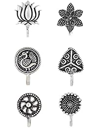Anuradha Art Silver Oxidized Metal Press On Nose Pin/NoseRing for Women/Girls Combo