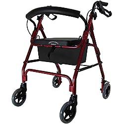 D Pro T- Déambulateur rouge léger avec assise à 4roues mobilité marche cadre Zimmer pour aide en cas d'invalidité